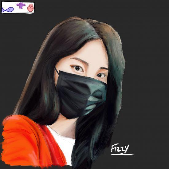 digital portrait of a girl wearing a medical mask